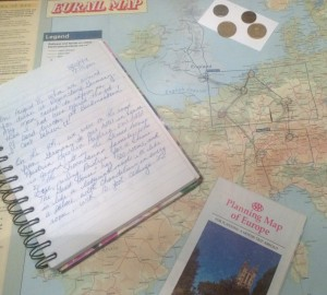 journal coins, map